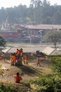 Children playing soccer in Katmandou Nepal