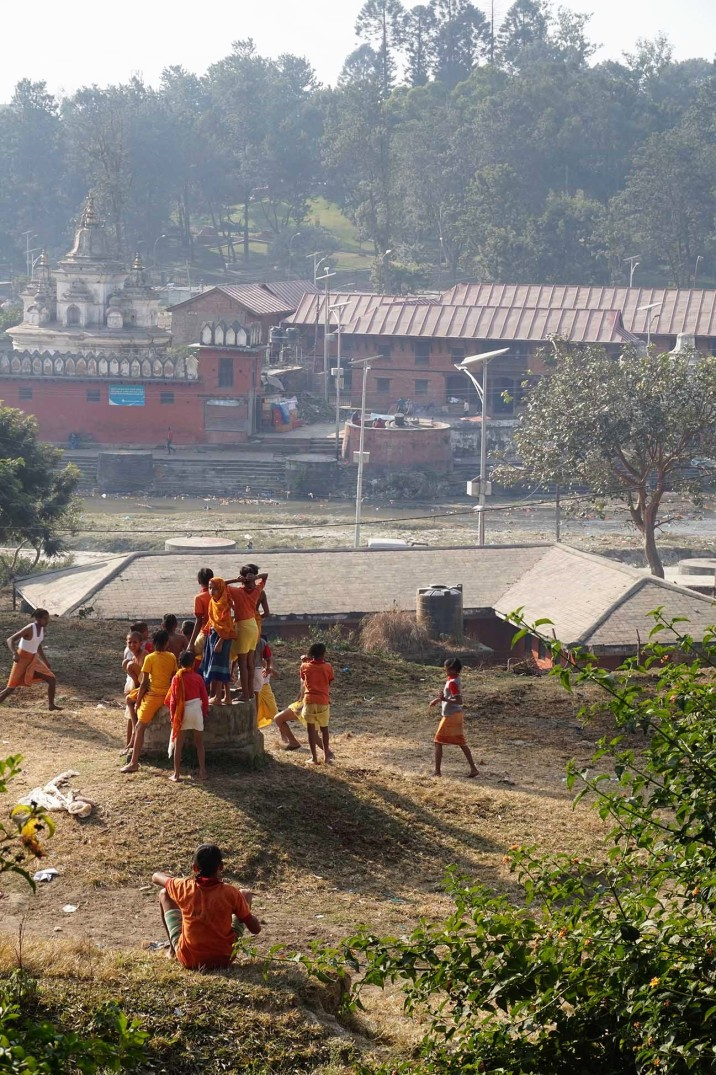 Children playing soccer in Katmandou Nepal