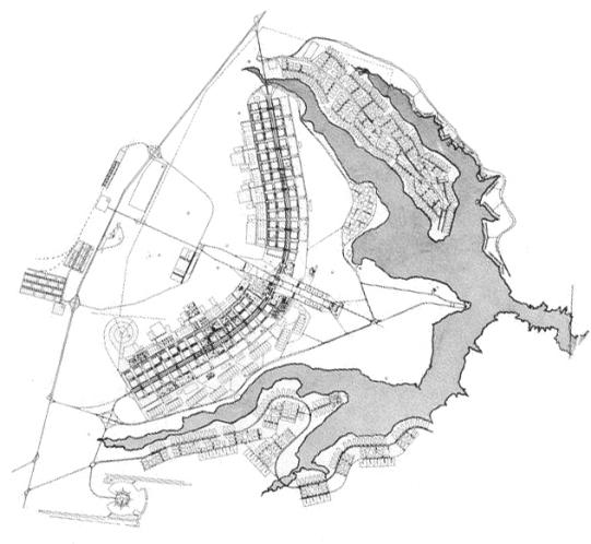 Plan-de-Brasilia-dessiné-par-Oscar-Niemeyer-en-gris-le-lac-Paranoá.